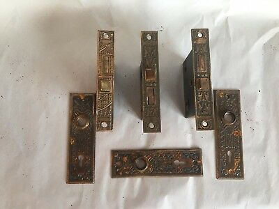 Antique Eastlake Metal  Set of 3 Door Mortise and Back Plates Old Vtg 299-17J