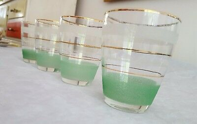 Retro Vintage 1950's Four Green Coloured Frosted Glass Punch/Lemonade Tumblers