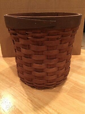 "Longaberger Large Crock Canister Basket Rich Brown 8"" Inches Tall"