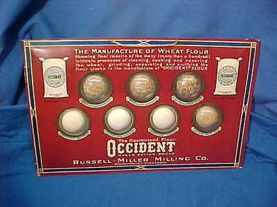 Orig 1920s OCCIDENT FLOUR Advertising SIGN w Flour SAMPLES Attached