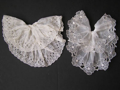 Vintage Jabots Ruffled Layered Collars White 2 Piece Lot Crisp Frabic