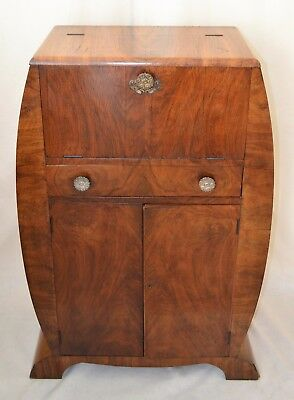 Vintage English Art Deco Burl Walnut Liquor  Cocktail Large Bar Cabinet England