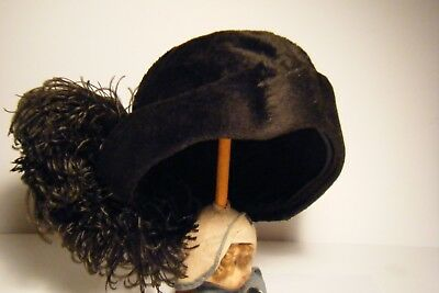 Ant. Edw. 1900's 20's Brown Plush Furry Cloche Flapper Hat W/feathers Tagged
