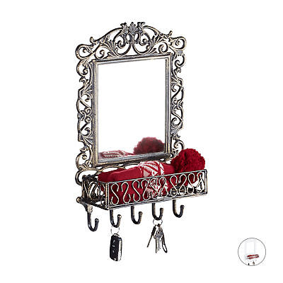 Wall Key Rack with Mirorr, 5 Hooks and Basket, Antique-Style Cast Iron Coat Rack
