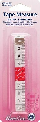 Hemline Tape Measure Metric & Imperial, Fibreglass Non Stretching, 150cm, 60""