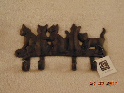 CAT Coat Hanger Wall Mount 5 Cats with 4 Hooks Giftcraft Cast Iron Cats NWT