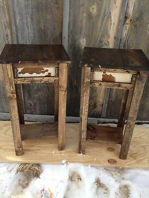 Set of Two Rustic Western decor cowhide Night Stands or End Tables Distressed