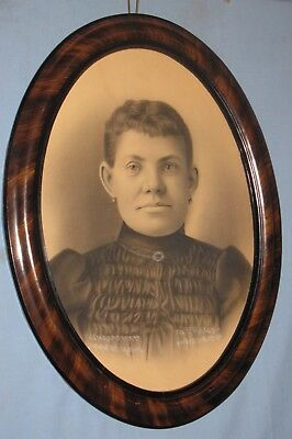 ANTIQUE MAHOGANY GRAINED PINE OVAL FRAME w/CHARCOAL PORTRAIT CA 1880