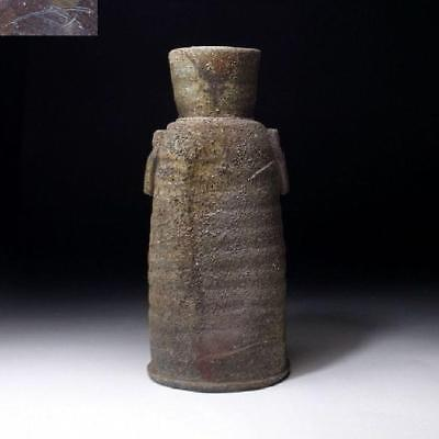 CL9: Japanese Pottery Vase, Bizen Ware, Height 9.2 inches, Firewood, Hole-kiln
