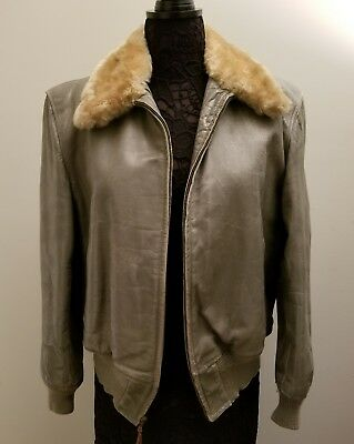 Vintage Horsehide Gray Leather Bombardier Lined Jacket by McGregor  USA Size 40