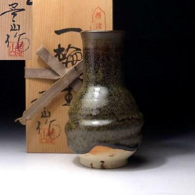 ZD3: Vintage Japanese Pottery Vase, Settu Ware with Signed Wooden Box