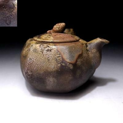 CN4: Vintage Japanese tea pot of Bizen ware by 1st Class Potter, Toko Konishi