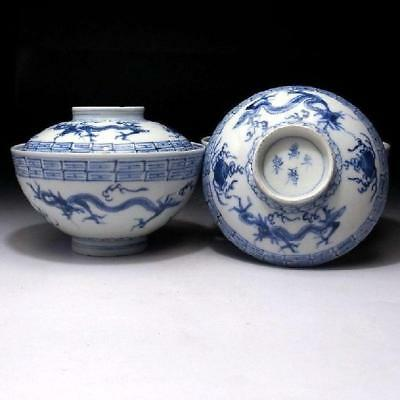 CB3: Antique Japanese Hand-painted Covered Bowls, Imari ware, Dragon, 19C