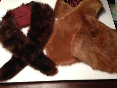 "Lot of 2 Vintage Real Fur 30""Mink collar &fur Scarf Collar. Wearing or crafting."