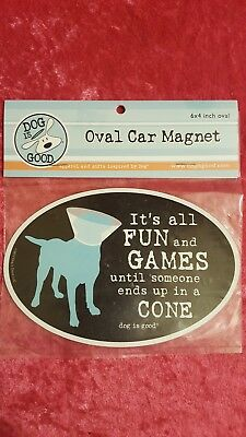 Dog Is Good It's All Fun And Games Oval Car Magnet