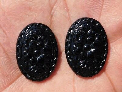 64.55 Cts Amazing Natural Black Flower Chalcedony carving  Cabochon Gemstone