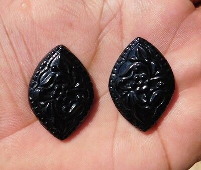64.25 Cts Fab A+++ Marvelous Black Flower Chalcedony Carving Gemstone