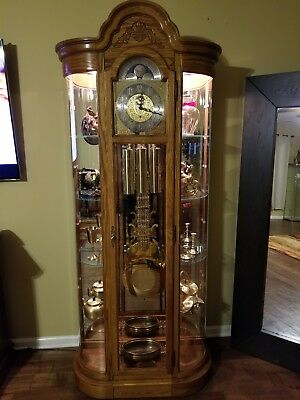 HOWARD MILLER 610-745 Curved Glass Curio Grandfather Floor Clock GORGEOUS!!
