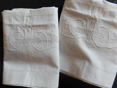 Vintage French PIllowcases Shams Fine Cotton Embroidery Inside Ties Medis Pair