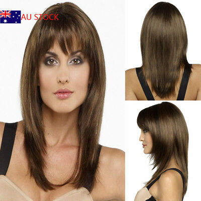 Womens Ladies Long Medium Brown Straight Fringe Bangs Hair Fashion Wig Costume