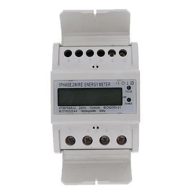 50Hz Single Phase DIN Rail kWh Watt Hour Energy Meter LCD Display 10(40)A