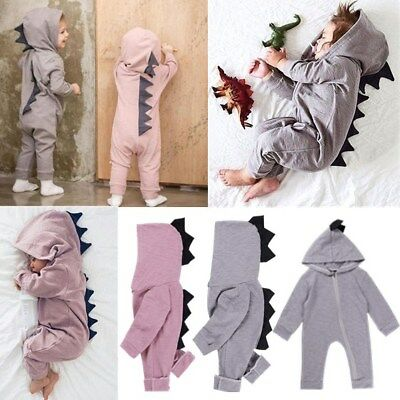 Infant Kids Baby Boys Girls Long Sleeve Cartoon Jumpsuit Hooded Romper Bodysuit
