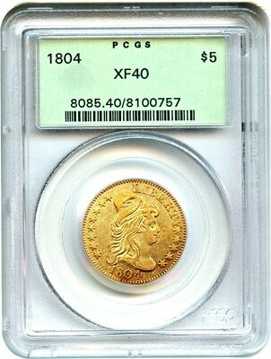 1804 $5 PCGS XF40 (OGH) Old Green Label Holder - Early Half Eagle - Gold Coin