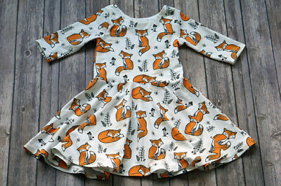 Cute Toddler Kids Baby Girls Animal Long Sleeve Fox Dress Casual Outfits Clothes