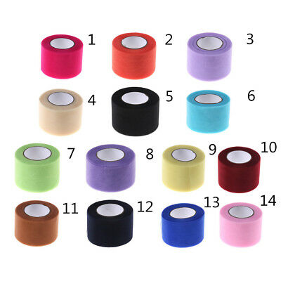 5cm*25Yard Tulle Roll Fabric Spool Party Gift Wrap Wedding Decoration Crafts MO