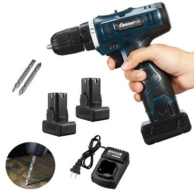 25V Li-Ion Cordless Electric Power Tool Drill Driver Hand Kit 2 Speed+2*Battery