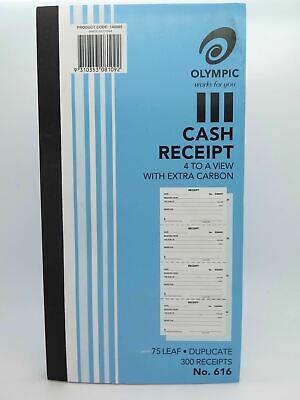 Olympic #616 Cash Receipt Book 250x135mm Duplicate 4 to View 140885