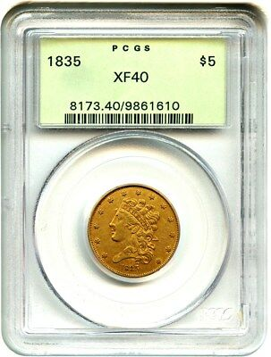 1835 $5 PCGS XF40 (OGH) Old Green Label Holder - Early Half Eagle - Gold Coin