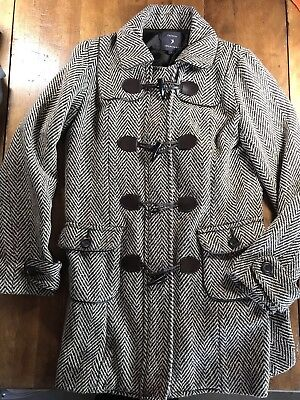 FOREVER 21 Winter Coat Women's size Small Herringbone Toggle Hook & Loop