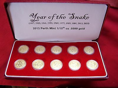 Year 0F The Snake 9999 Gold Coins Ex-Perth Mint In Presentation Box