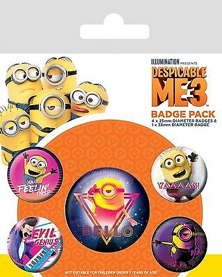 MINIONS - DESPICABLE ME 3 - 80s Vibe - Button Set - Badge Pack - Neu OVP