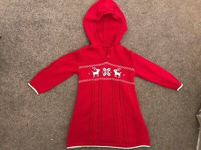M&S KIDS girls toddler age 18-24 months 2 yrs red Nordic Christmas jumper dress