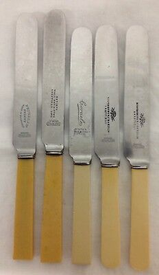 Collection Of 5 Vintage Butter Knives With Faux Bone Handles-Various Makers