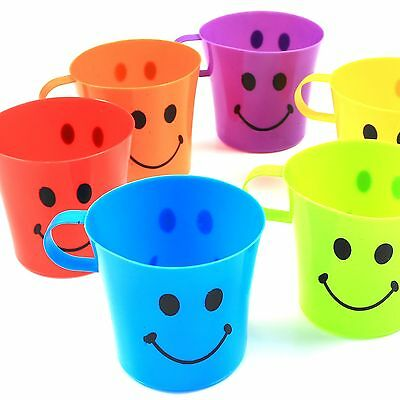 24x KIDS PLASTIC SMILEY FACE MUGS Handle Cups Fun Home Travel Children Party Set