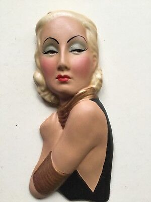 Elegant Deco Style Wall Mask Lady Face  Plaque .. Chalkware Reproduction