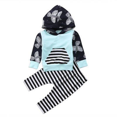 Newborn Baby Kids Girls Boys Floral Hooded Tops+Long Pants Clothes Outfits Set