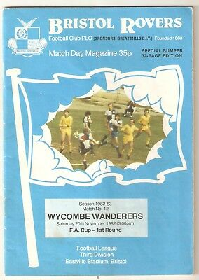 FA Cup 1st round Programme 1982 - Bristol Rovers v Wycombe Wanderers