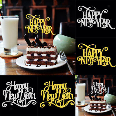 20pcs Happy New Year Party Cupcake Cake Toppers Celebration DIY Cake Decorations