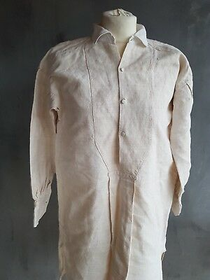Vintage 1900s French Linen Workers tail peasant Shirt Smock Workwear Chore Tunic