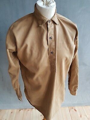Vtg 40s Scottish tan cotton drill smock overhead work workers chore shirt