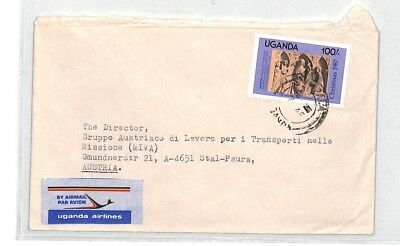 CA382 Uganda Air Mail Cover MISSIONARY VEHICLES PTS