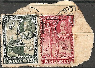 USED 1936 NIGERIA British Colony TWO STAMPS King George V. 1/2p & 1p DAMAGED