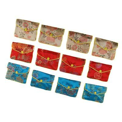 12pcs Silk Ethnic Style Vintage Embroidery Bags Jewelry Pouch Gift Storage