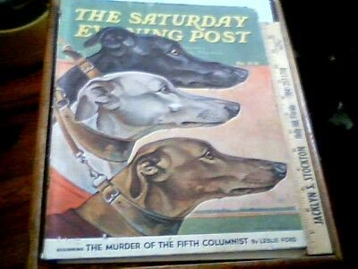 1941 Saturday Evening Post GREYHOUND Cover Art Paul Bransom dog poster vintage
