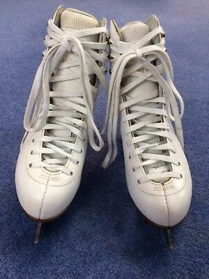 Graf 500 White Leather Figure Ice Skates UK size 2.5, EU size 35 Excellent Cond.