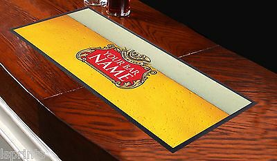 PERSONALISED BEER LABEL YELLOW Bar Towel Runner Pub Party Mat BEER Cocktail Gift